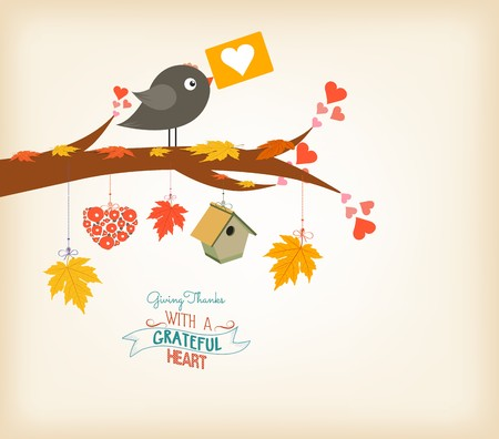 Happy Thanksgiving birds and maple leaves Illustration