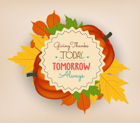 Happy Thanksgiving background with colorful autumn leaves and a pumpkin