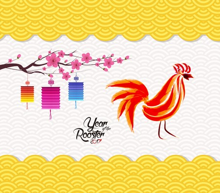 Chinese new year 2017 lantern pattern background. Year of the Rooster