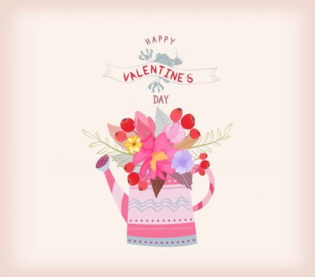 daisys: Valentines day card. watering can with a bouquet of flowers watercolor