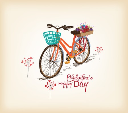 Valentines day background with a bike Çizim
