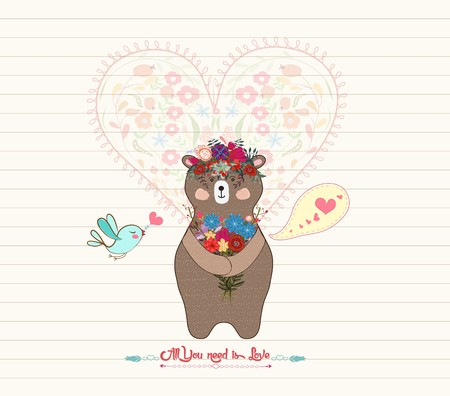valentines day mother s: Cute little Teddy bear giving a flower bouquet