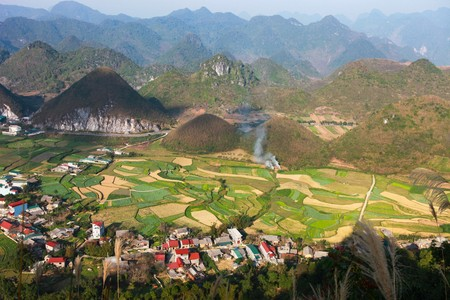 plateau: Spectacular view at Heavens gate, Quan Ba pass, north Vietnam.