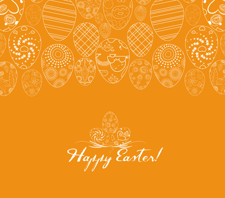 Happy Easter for design posters and flyers on the yellow background pattern of ornamental eggs