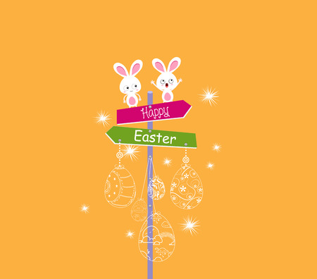 Happy easter eggs ornament with bunny funny card