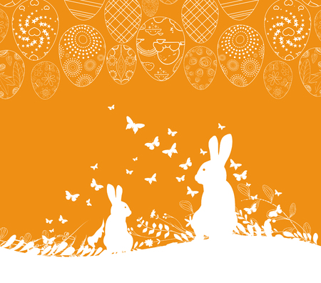 Easter greeting card with rabbit ornamental eggs background Illustration