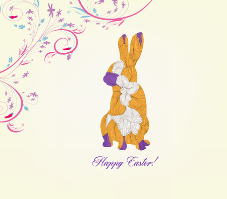 bugs bunny: happy easter with doodle floral bunny picture frame