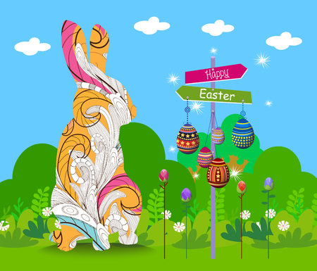 Hanging easter eggs ornament with doodle bunny card Illustration