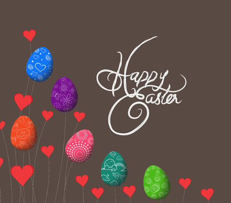 trees growing easter eggs and heart background