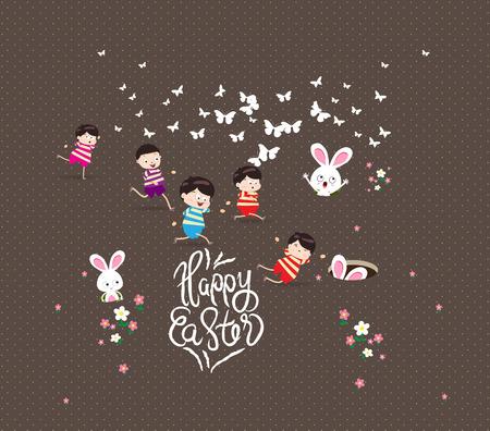 decora: Happy easter Kids bunny bunny grass Illustration