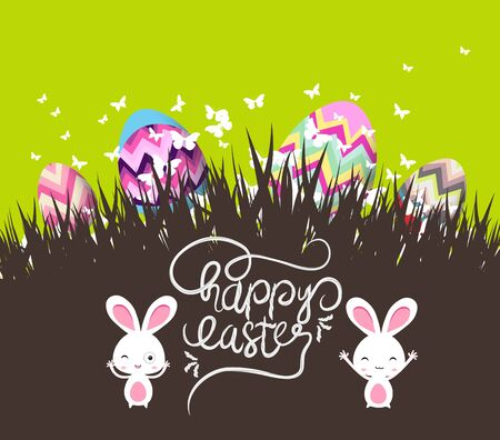 easter eggs and bunny with grass Illustration