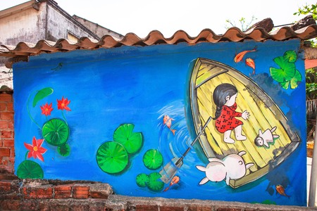 TAM THANH, TAM KY, VIETNAM - MARCH 16, 2017: Painted wall, Street arts in Tam Thanh mural Village Editorial