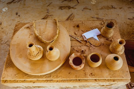 HOI AN, VIETNAM - MARCH 19, 2017: Pottery stuffs are sun-dried in Thanh Ha Pottery Village. The village was formed at the end of the 15th century, by the Thu Bon river, Quang Nam province, Vietnam.