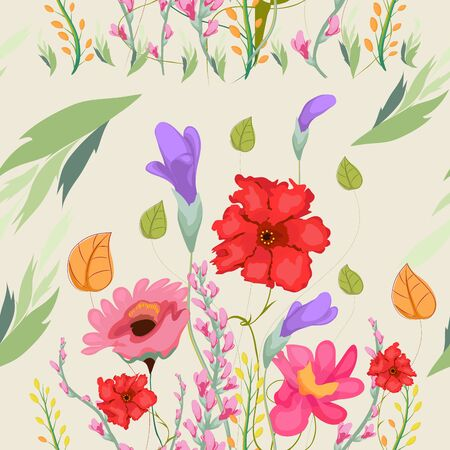 Seamless pattern with flowers spring time
