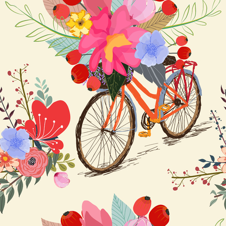 Seamless pattern with bike and flowers spring time Çizim