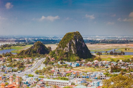 HOI AN, VIETNAM - MARCH 20, 2017: View of Marble hills in Ngu Hanh Son district, Vietnam. Marble mountains is a cluster of five marble and limestone hills Editorial