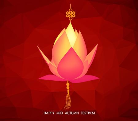Chinese mid autumn festival geometrical background. Lotus lantern