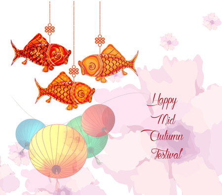 Mid Autumn Festival with lantern and lotus background Illustration