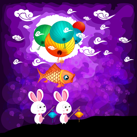 traditonal: Mid Autumn Festival background with rabbit playing lanterns Illustration