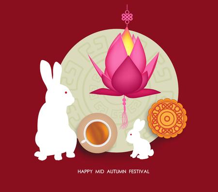 Mid Autumn Lantern Festival  background with moon cake, tea and rabbit. Happy Mid Autumn Festival
