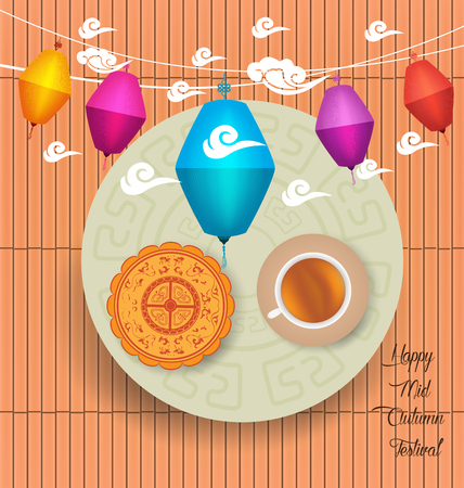 Mid Autumn Lantern Festival background with moon cake and chinese tea Illustration
