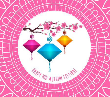 Happy mid autumn festival. Blossom background with lantern