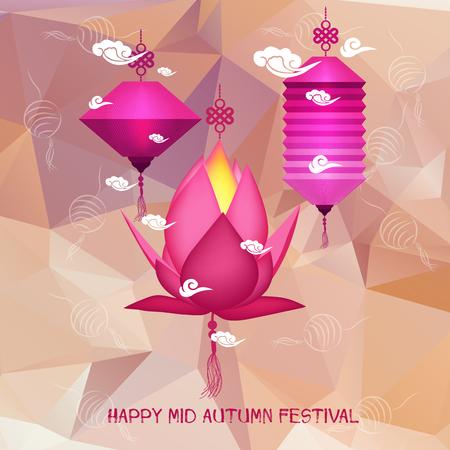 Mid Autumn Festival polygonal background with lanterns