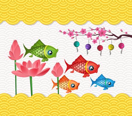 Happy mid autumn festival lotus flower and carp lantern design