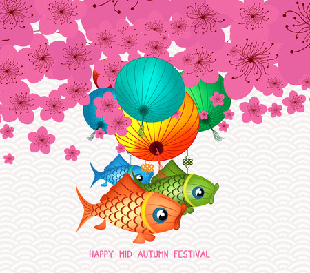 Happy mid autumn festival. Blossom background with carp lantern