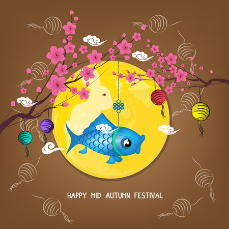 Mid Autumn Lantern Festival blossom background. Chinese new year
