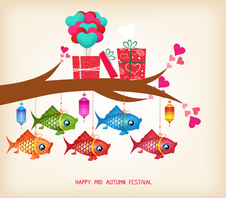 Mid autumn festival day greeting card with gifts and lanterns