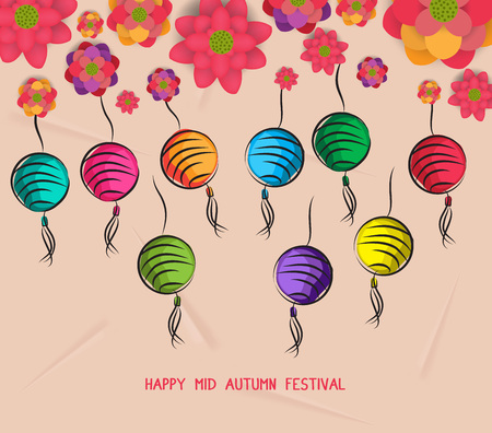 Mid autumn festival blooming flower and lantern design