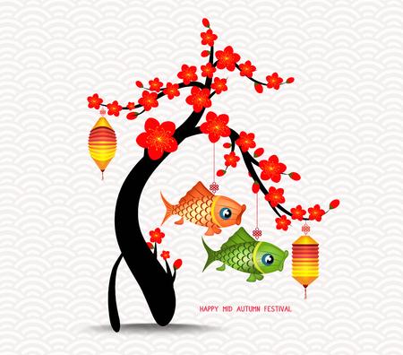 Mid autumn festival blossom tree and carp lanterns background
