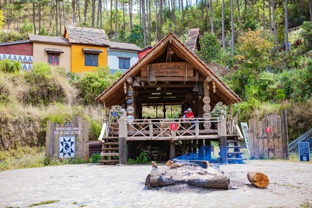 DALAT, VIETNAM - February 17, 2017: Cu Lan village at Dalat countryside, hotel and holiday resort among pine jungle, camp on grass field, an eco tourism in nature reserse