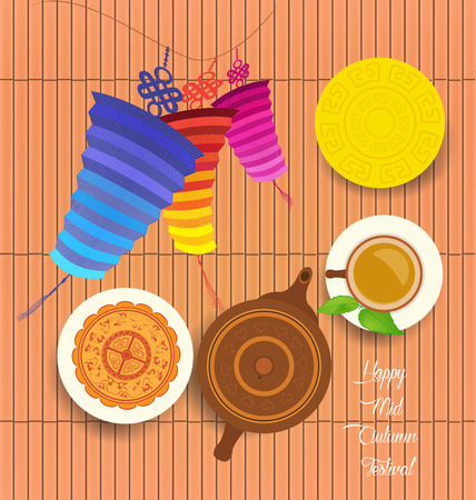 greet: Chinese moon cake and green tea for Mid autumn festival. Tea pot, tea cup