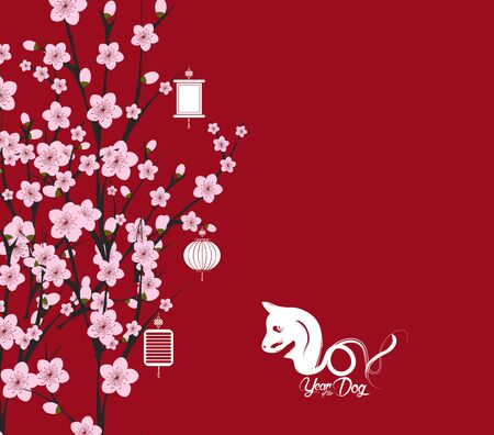 traditional chinese new year. Blossom background. Year of the dog Illustration