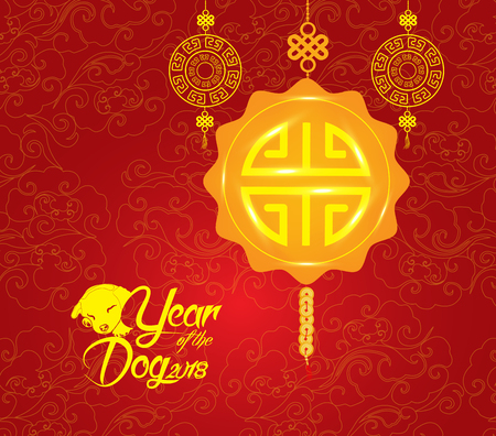 Oriental Chinese New Year pattern background. Year of the dog