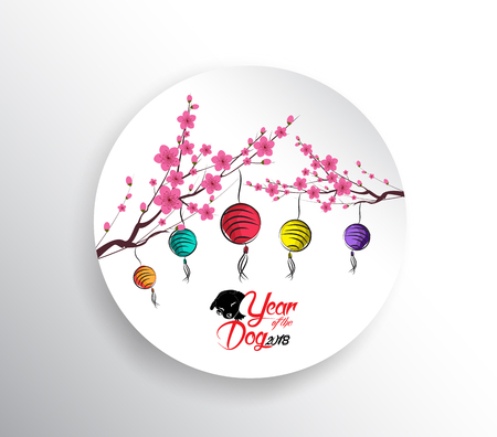 Happy chinese new year 2018. Seasons Greetings. lantern design. Year of the dog Illustration