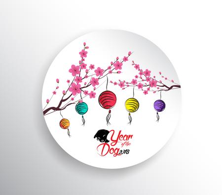 Gelukkig Chinees nieuw jaar 2018. Seasons-groeten. lantaarn ontwerp. Jaar van de hond Stock Illustratie