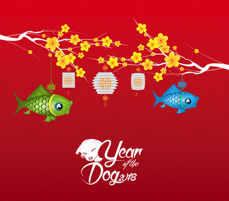 Chinese new year 2018 blossom background. Year of the dog Illustration