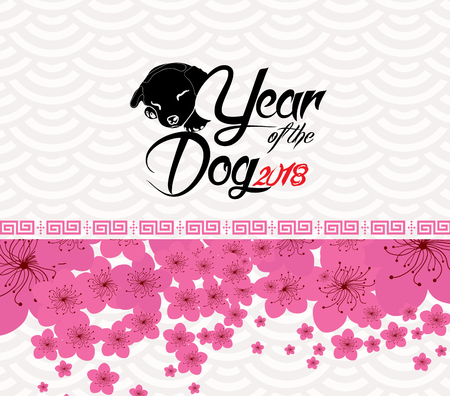 Chinese New Year 2018 - plum blossom Background. Year of the dog Illustration