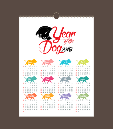 calendar 2018 design. Chinese new year, the year of the dog zodiac monthly cards templates. Set of 12 month