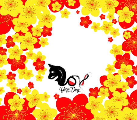 Oriental Happy Chinese New Year 2018. Year of the dog