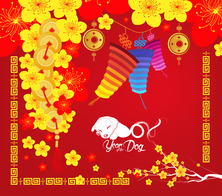 Oriental Chinese New Year background with blossom. Year of the dog Illustration
