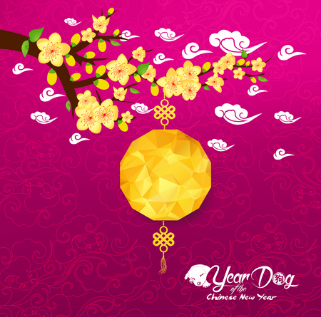 Chinese New Year card with plum blossom and lantern Çizim