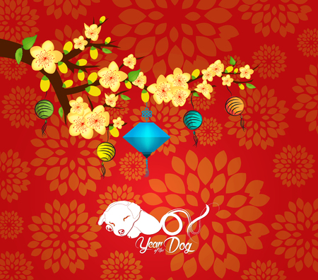 Chinese New Year card with plum blossom and lantern Illustration