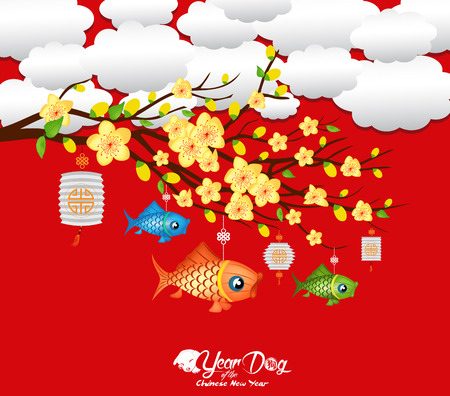 Blossom chinese new year lantern and background. Year of the dog (hieroglyph: Dog)