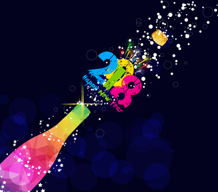 Happy new year 2018 greeting card or poster design with colorful triangle champagne explosion