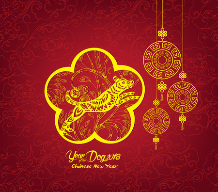 Happy Chinese new year and year of dog card is lanterns and dog in frame (hieroglyph: Dog) Illustration