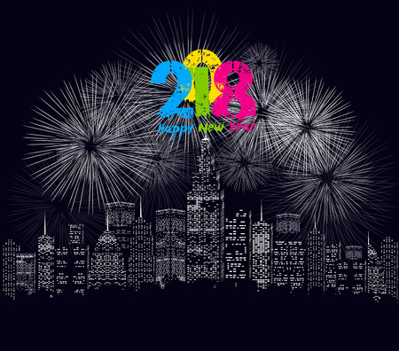 Happy new year 2018 written with Sparkle firework and led Illustration